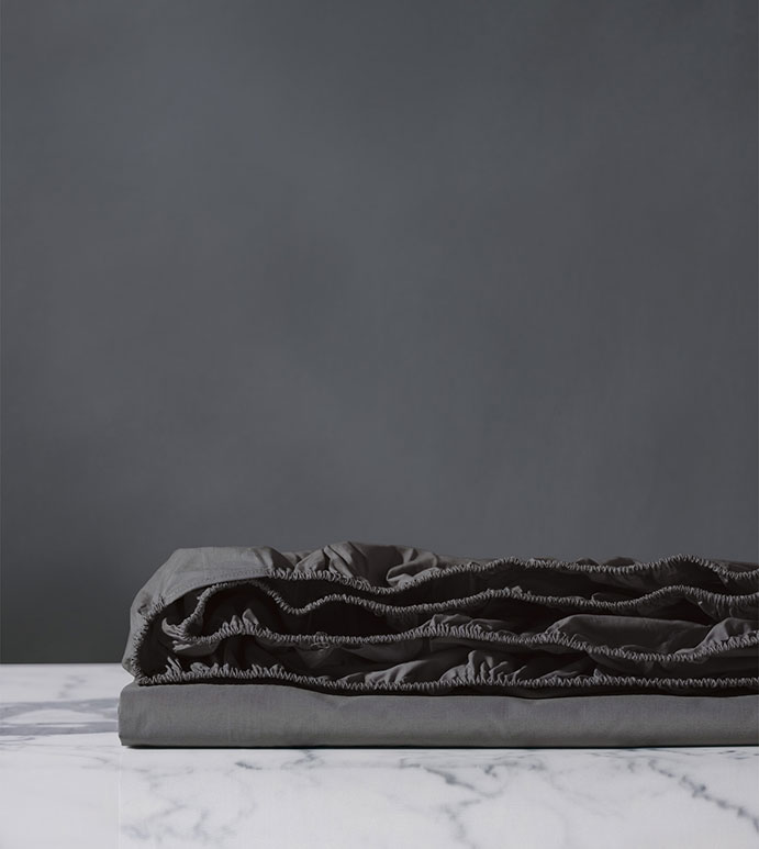 Vail Percale Fitted Sheet In Slate - ,GRAY FITTED SHEET,PERCALE FITTED SHEET,CUSTOM FITTED SHEET,LUXURY FITTED SHEET,CUSTOM GUSSET SHEET,LUXURY COTTON FITTED SHEET,GRAY SHEETS,GRAY FINE LINENS,