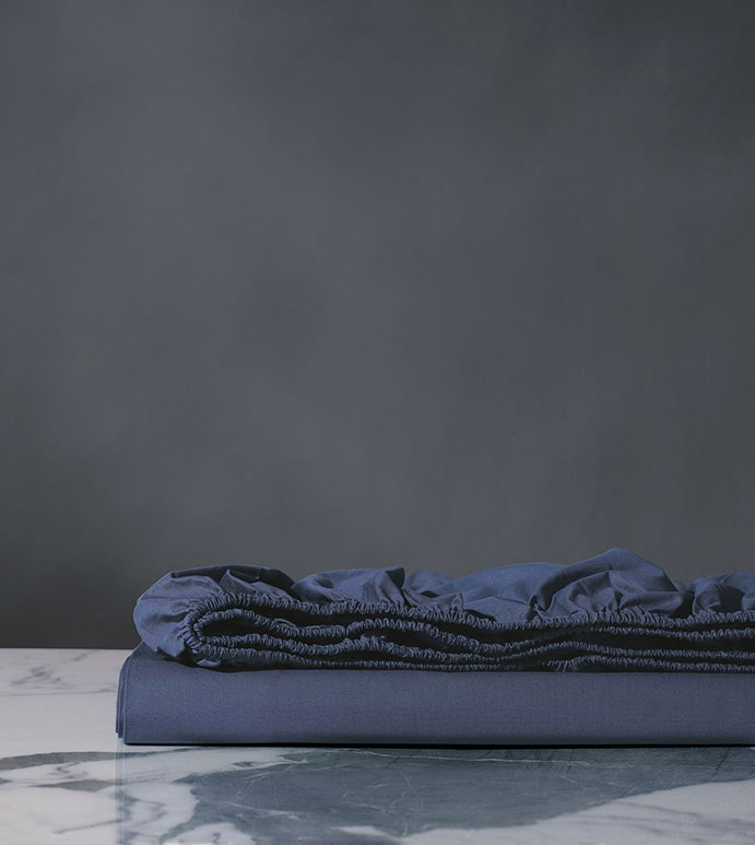 Palma Azure Percale Fitted Sheet - ,LUXURY BLUE FITTED SHEET,PERCALE FITTED SHEET,COTTON PERCALE FITTED SHEET,NAVY FITTED SHEET,TROPICAL SHEETS,BLUE SHEETS,BLUE PERCALE FITTED SHEET,BLUE PERCALE SHEETS,