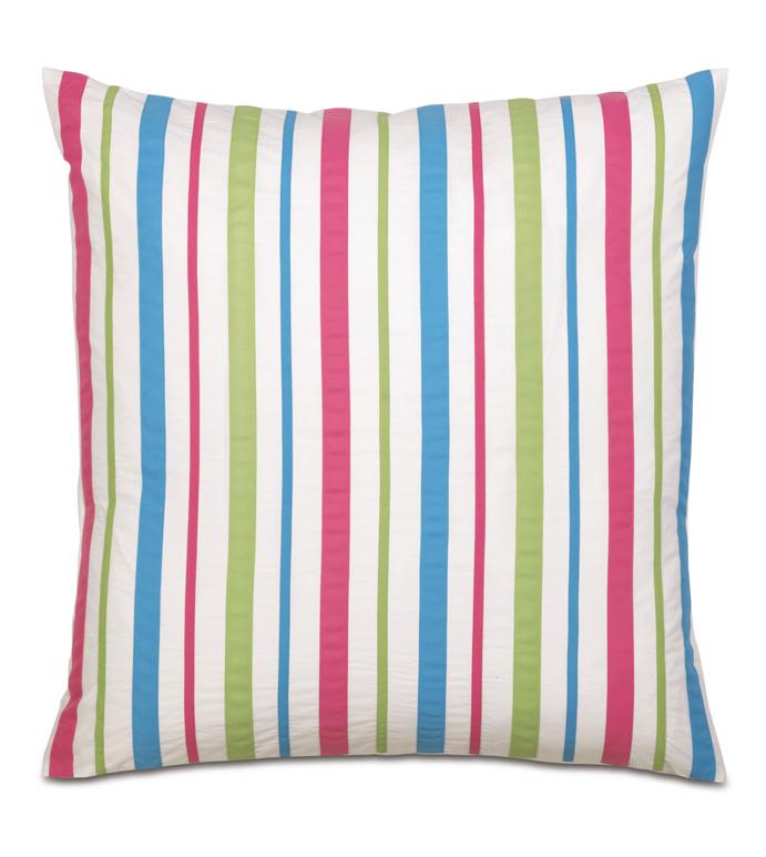 Gigi Stripe Euro Sham - decorative pillow,pillow,euro sham,27x27,ribbons,square,bed,bedding,kids,pastel,primary,multicolor,colorful,washable,