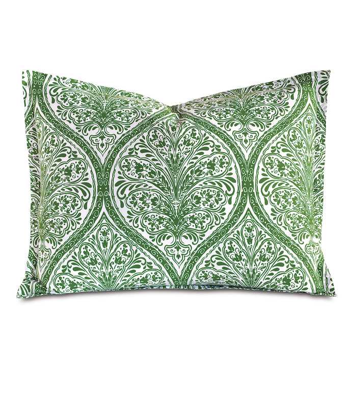 Adelle Percale King Sham In Grass - KING SHAM,PILLOW,DECORATIVE PILLOW,GREEN,BRIGHT,COLORFUL,OGEE,MEDALLION,DAMASK,JACQUARD,EASTERN ACCENTS,PATTERNED,PRINT,LUXURY BEDDING,FINE LINENS,PERCALE,ITALIAN FINE LINENS,