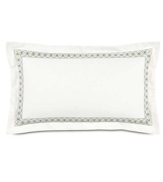 Filly White King Sham - WHITE DECORATIVE KING SHAM,WHITE WITH GREEN TRIM,SHAM WITH SELF FLANGE,INSET BORDER,FEMININE,CASUAL CONTEMPORARY,WHITE AND GREEN,WHITE AND BLUE,PASTEL,GEOMETRIC,FLORAL,