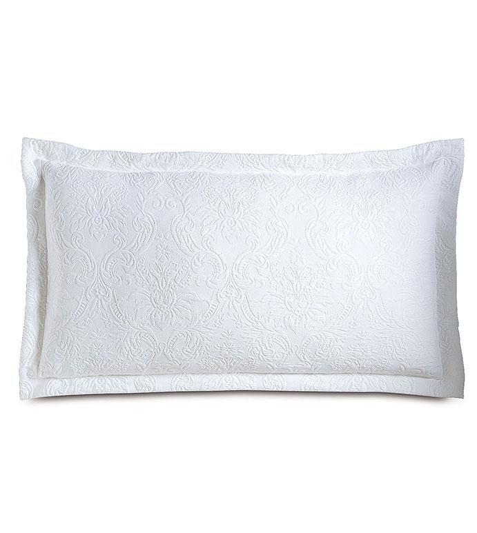 Sandrine White King Sham - pillow,matelasse pillow,white pillow,throw pillow,king pillow,traditional pillow,decorative pillow,king sham pillow,toss cushion,customizable pillow,tone on tone pillow