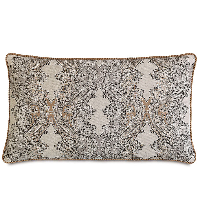 Aiden Damask King Sham - RUSTIC,LODGE,COUNTRY,MOUNTAINS,SOUTHWEST,LODGE STYLE PILLOW,RUSTIC PILLOW,KING SHAM,LEATHER ACCENT,PAISLEY,TAN,BLACK,GREY,TAN LODGE PILLOW,SADDLE COLOR PILLOW,TAN PAISLEY PILLOW