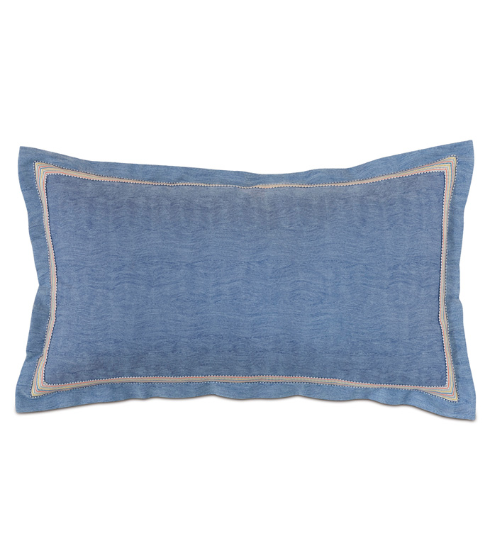 Paloma Woven King Sham In Blue - ACCENT PILLOW,THROW PILLOW,KING SHAM,EASTERN ACCENTS,BLUE,TEXTURED,SOLID,BORDER,WOVEN,WAVY,TROPICAL,COASTAL,COLORFUL,PRIMARY,BORDER,TRIM,LUXURY,BEDDING,PILLOW,QUALITY