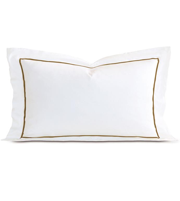 Linea Velvet Ribbon King Sham In White & Oliva - ,