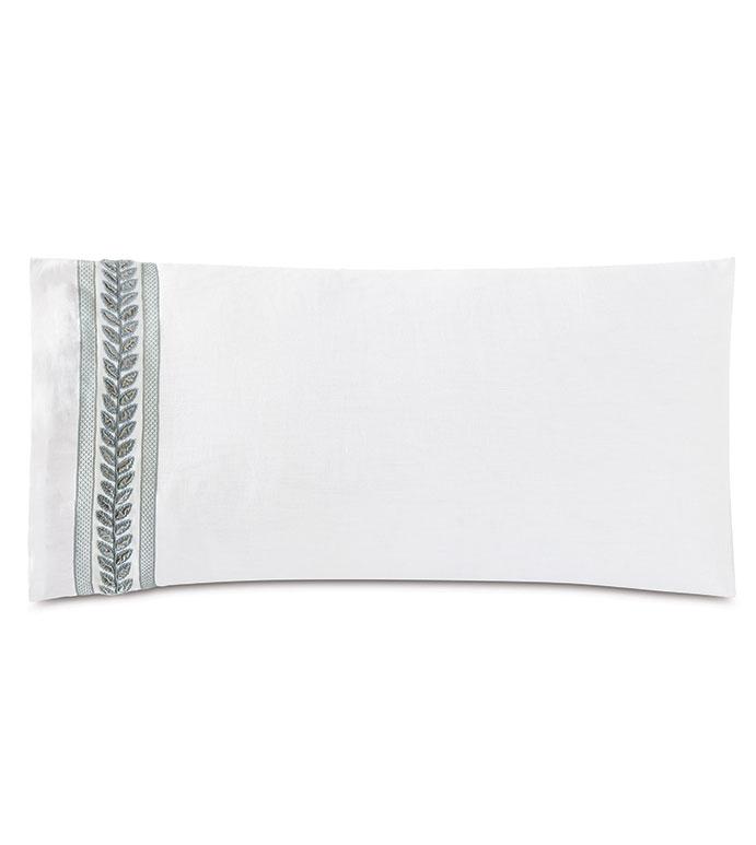 Amberlynn Velvet Leaf King Sham (Left) - ,white king sham,luxury king sham,linen king sham,white linen,100% linen,embroidered king sham,floral embroidery,embroidered bedding,luxury bedding,100% linen bedding,