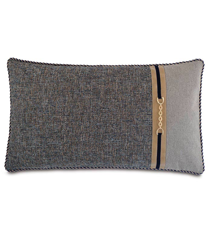 Rosenthal Dusk King Sham Right - NAVY AND GREY KING SHAM,TRADITIONAL STYLE BEDDING,CLASSIC BEDDING,HANDSOME NAVY PILLOW,MENS ROOM BEDDING,LEATHER ACCENT,MENS TRADITIONAL BEDDING,NEUTRAL,GOLD,BUCKLE ACCENT