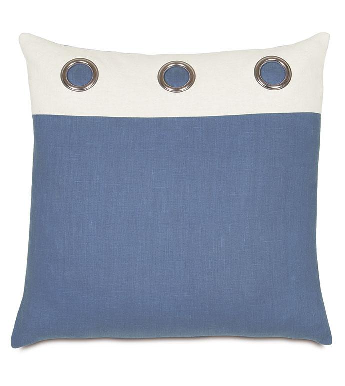 Maritime Grommet Accent Pillow In Blue - ACCENT PILLOW,THROW PILLOW,ACCENT PILLOW,EASTERN ACCENTS,BLUE,LINEN,SOLID,BORDER,KNIFE EDGE,