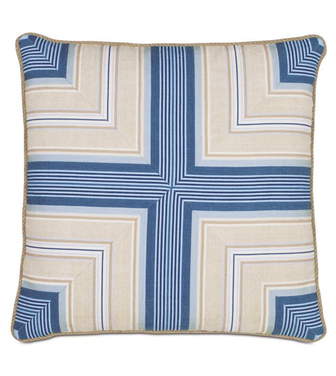 Maritime Nautical Accent Pillow In Blue - ACCENT PILLOW,THROW PILLOW,ACCENT PILLOW,EASTERN ACCENTS,BLUE,COTTON,GEOMETRIC,CORD,