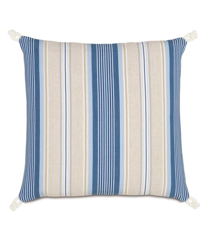Maritime Stripe Accent Pillow In Blue - ACCENT PILLOW,THROW PILLOW,ACCENT PILLOW,EASTERN ACCENTS,BLUE,COTTON,STRIPE,KNIFE EDGE,