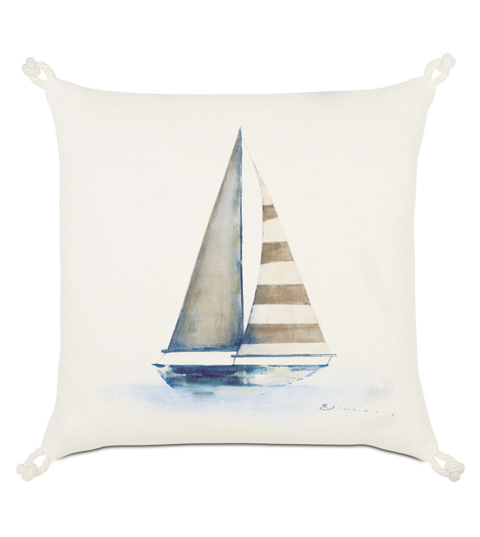 Maritime Hand Painted Yacht Accent Pillow In Ivory - ACCENT PILLOW,THROW PILLOW,ACCENT PILLOW,EASTERN ACCENTS,IVORY,LINEN,SOLID,HAND PAINTED,YACHT,