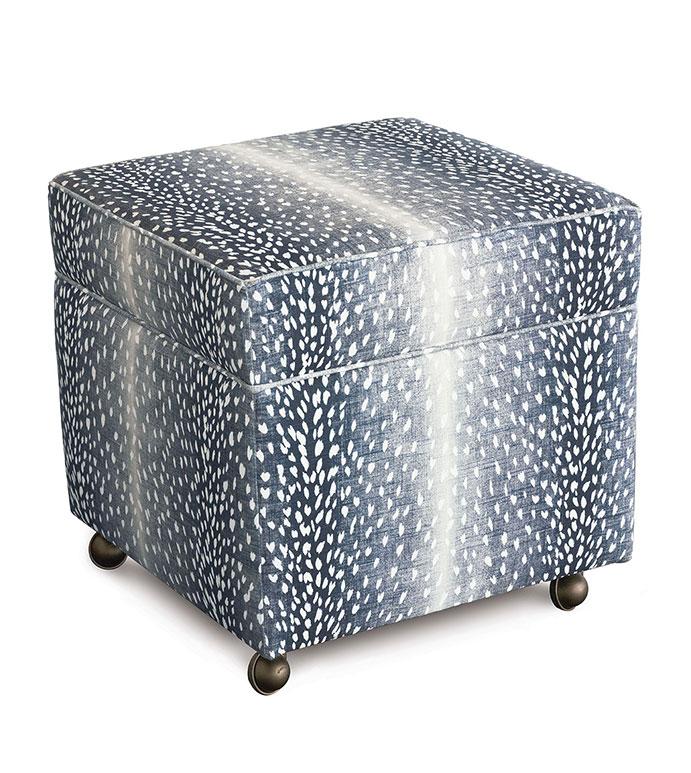 Wiley Storage Ottoman in Navy - cube ottoman,luxury ottoman,ottoman,vanity stool,blue ottoman,animal print ottoman,blue animal print,ombre animal print,blue ottoman