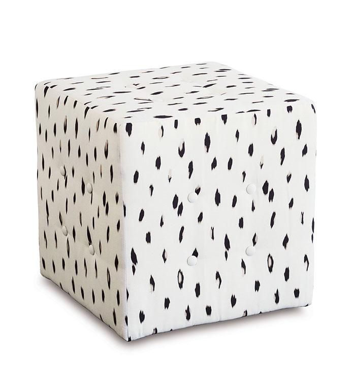 Maddox Cube Ottoman - cube ottoman,luxury ottoman,ottoman,vanity stool,white ottoman,animal print ottoman,white animal print, animal print,white ottoman,bedroom furniture, glamourous ottoman