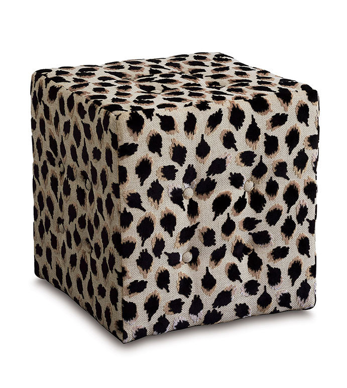 Ocelot Cube Ottoman in Black - cube ottoman,luxury ottoman,ottoman,vanity stool,black ottoman,animal print ottoman,black animal print,embroidered animal print,bedroom furniture,luxury ottoman