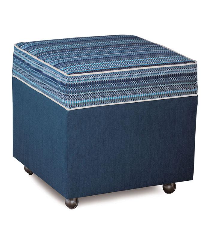 Grover Indigo Storage Boxed Ottoman