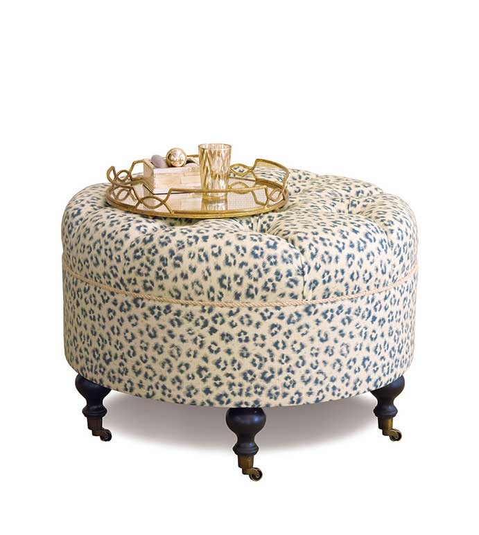 Tabby Sapphire Round Ottoman - BLUE AND WHITE CHEETAH OTTOMAN,CHEETAH PRINT OTTOMAN,LEOPARD PRINT OTTOMAN,LEOPARD PRINT FURNITURE,IVORY AND BLUE,TUFTED CHEETAH OTTOMAN,DEEP TUFTED OTTOMAN,CASTER WHEELS,BUTTON