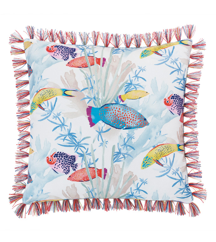Paloma Brush Fringe Decorative Pillow - ACCENT PILLOW,THROW PILLOW,EASTERN ACCENTS,MULTICOLORED,TROPICAL,100% COTTON,SEALIFE,BRUSH FRINGE,COTTON,FUN,FISH,PATTERN,PRINT,LUXURY,BEDDING,PILLOW,