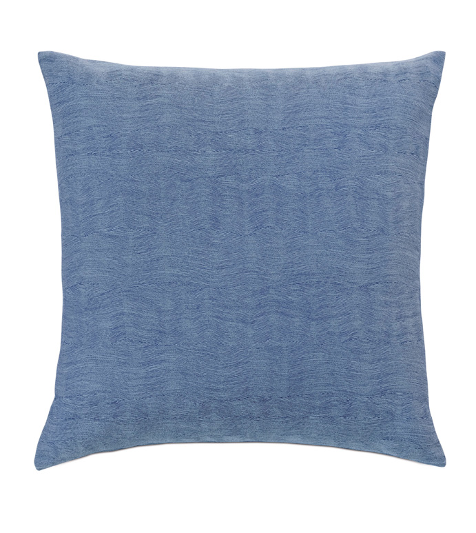 Paloma Woven Decorative Pillow - ACCENT PILLOW,THROW PILLOW,EASTERN ACCENTS,BLUE,TROPICAL,TEXTURED,SOLID,KNIFE EDGE,WAVY,WAVE,PATTERN,WOVEN,TEXTURED,TEXTURE,BLUE,INDIGO,LUXURY,BEDDING,PILLOW,DESIGNER