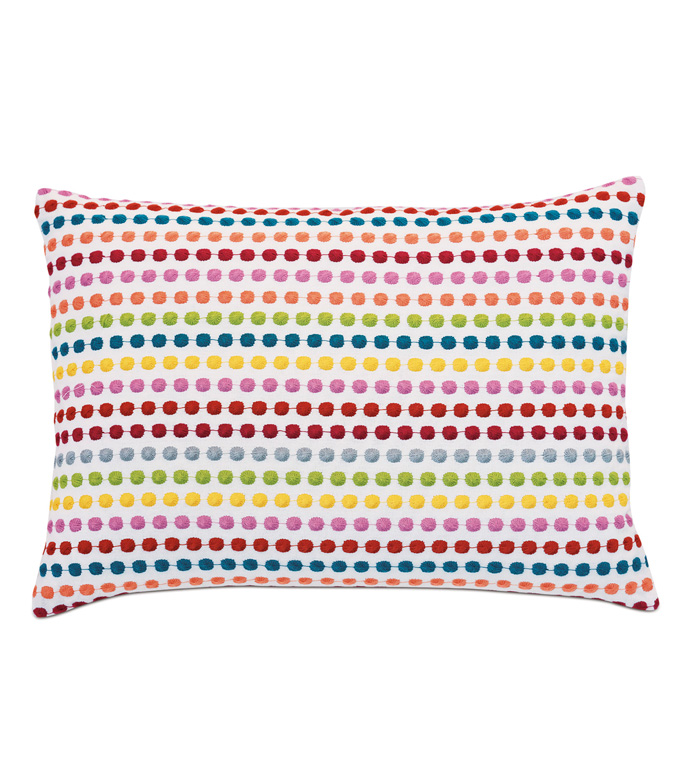 Paloma Embroidered Decorative Pillow - ACCENT PILLOW,THROW PILLOW,EASTERN ACCENTS,EMBROIDERED,POLKA-DOT,KNIFE EDGE,PILLOW,EMBROIDERY,BRIGHT,COLORFUL,FUN,KIDS,GIRLS,TEXTURE,BEDDING,LUXURY,PILLOW