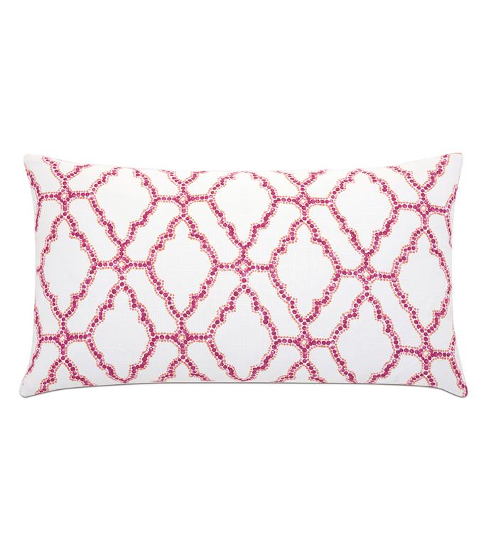 Paloma Trellis Decorative Pillow - ACCENT PILLOW,THROW PILLOW,EASTERN ACCENTS,CORAL,100% COTTON,KNIFE EDGE,OGEE,MEDALLION,LATTICE,TRELLIS,EXOTIC,GLOBAL,ECLECTIC,PINK,ORANGE,LUMBAR,PATTERN