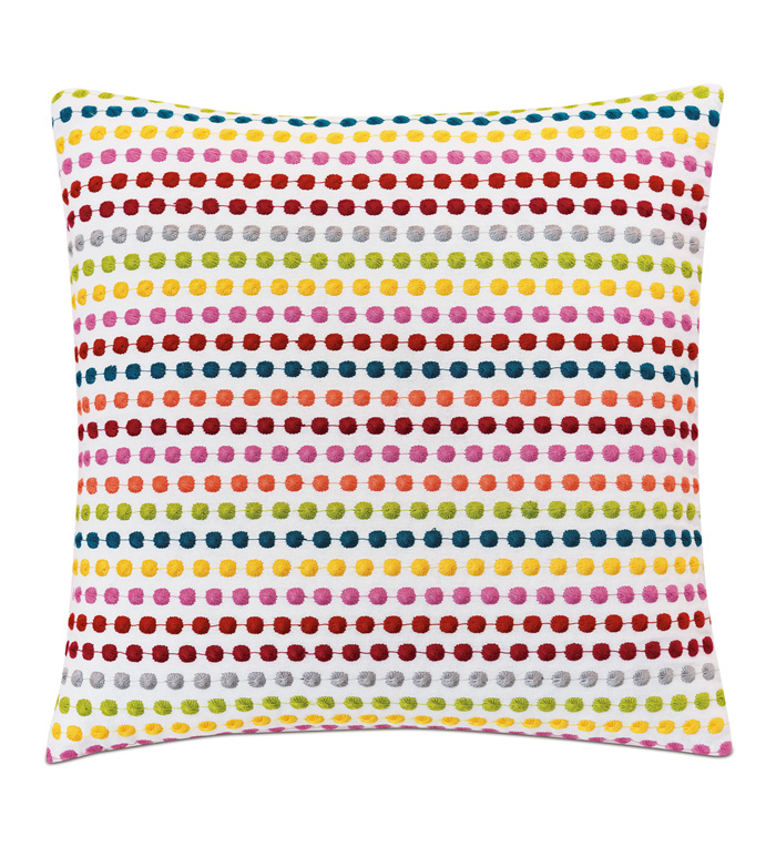 Paloma Embroidered Decorative Pillow - ACCENT PILLOW,THROW PILLOW,EASTERN ACCENTS,MULTICOLORED,EMBROIDERED,POLKA-DOT,BRIGHT,COLORFUL,EMBROIDERED,GIRLS,KIDS,FUN,LUXURY,BEDDING,PILLOW,TEXTURED,