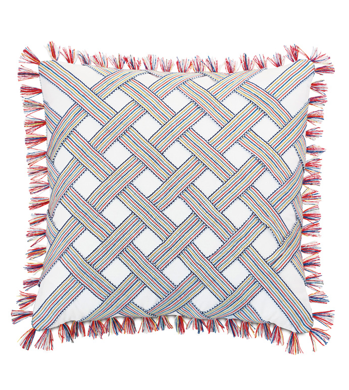 Paloma Trim-Applique Pillow - ACCENT PILLOW,THROW PILLOW,EASTERN ACCENTS,MULTICOLORED,100% COTTON,PILLOW,PINK,CRISS-CROSS,TEXTURE,LAYERED,FUN,PLAYFUL,BASKETWEAVE,FRINGE,TRIM,LUXURY,QUALITY,BEDDING
