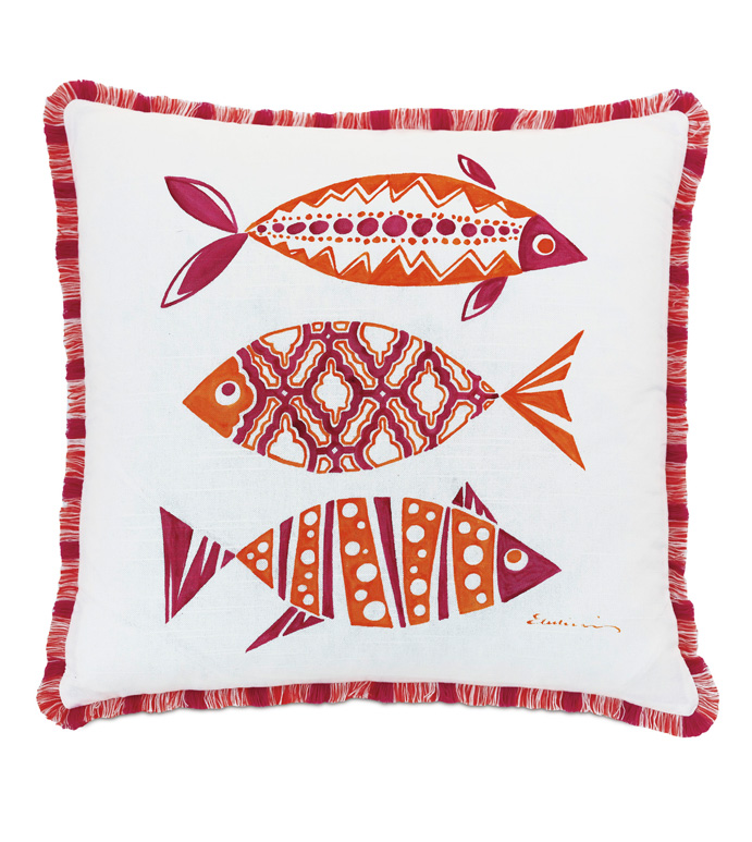 Paloma Hand Painted Decorative Pillow - ACCENT PILLOW,THROW PILLOW,EASTERN ACCENTS,TROPICAL,100% COTTON,HAND PAINTED,FISH,FISH DESIGN,HAND-PAINTED PILLOW,PINK,ORANGE,KIDS,LUXURY,PILLOW,BEDDING,COTTON,GIRLS,