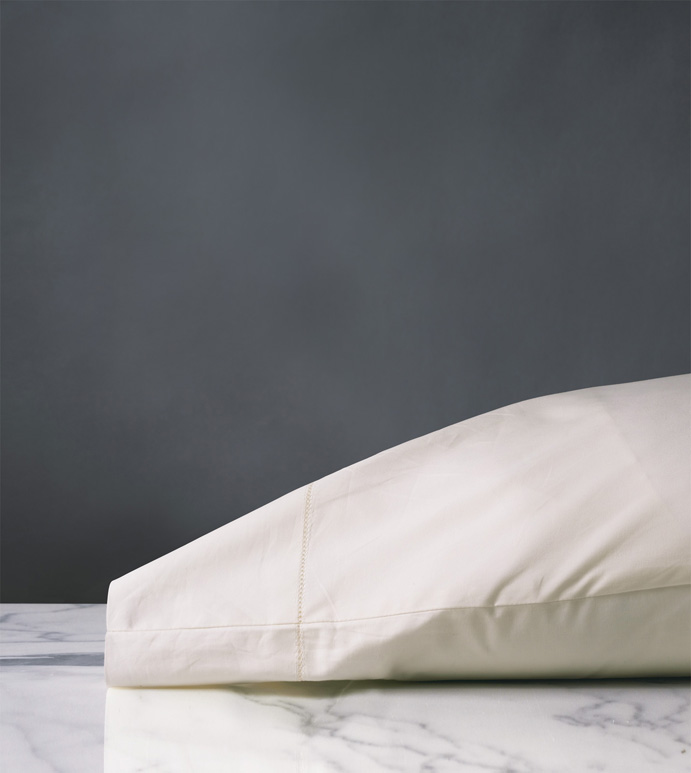 Gianna Hemstitch Pillowcase in Ivory - ,COTTON PERCALE PILLOWCASE,PERCALE PILLOWCASE,PERCALE PILLOW,IVORY PERCALE PILLOWCASE,IVORY PERCALE SHEETS,LUXURY COTTON PILLOWCASE,HEMSTITCHED PILLOWCASE,HEMSTITCHED SHEETS,