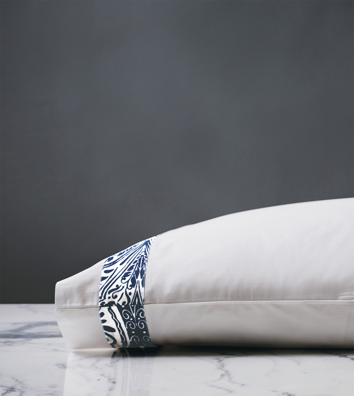 Adelle Percale Pillowcase In Marine - 100% COTTON,EGYPTIAN COTTON,ITALIAN,FINE LINENS,LINENS,SHEETS,SHEETING,PILLOWCASE,DAMASK,DAMASK PATTERN,BLUE,TRADITIONAL,OGEE,BED LINENS,EASTERN ACCENTS,PERCALE,MADE IN AMERICA,