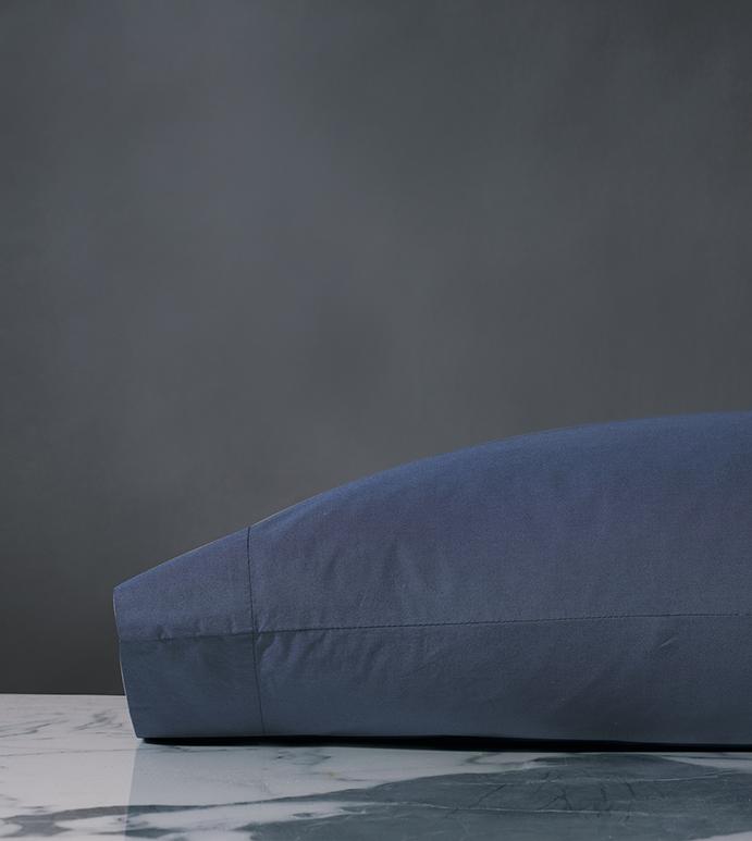Palma Azure Percale Pillowcase - ,BLUE PERCALE PILLOWCASE,NAVY PERCALE PILLOW,PERCALE PILLOW,BLUE PERCALE SHEETS,COTTON PERCALE PILLOW,LUXURY BLUE PILLOWCASE,LUXURY COTTON PILLOWCASE,TOPSTITCHED PILLOW,