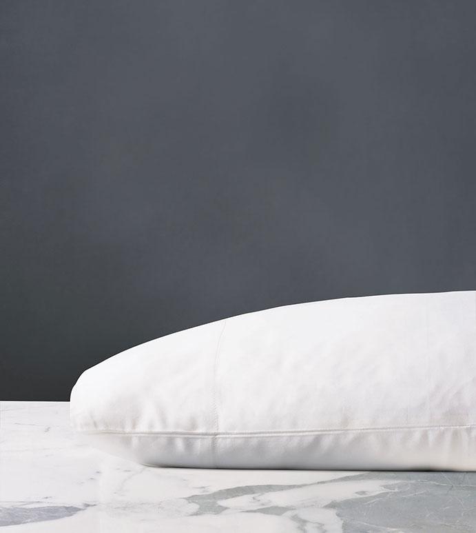 Fresco Classic White Pillowcase - ,COTTON SATEEN PILLOWCASE,SATEEN PILLOWCASE,100% COTTON PILLOWCASE,LUXURY PILLOWCASE,WHITE SATEEN SHEETS,SATEEN FINE LINENS,COTTON FINE LINENS,WHITE LUXURY PILLOWCASE,