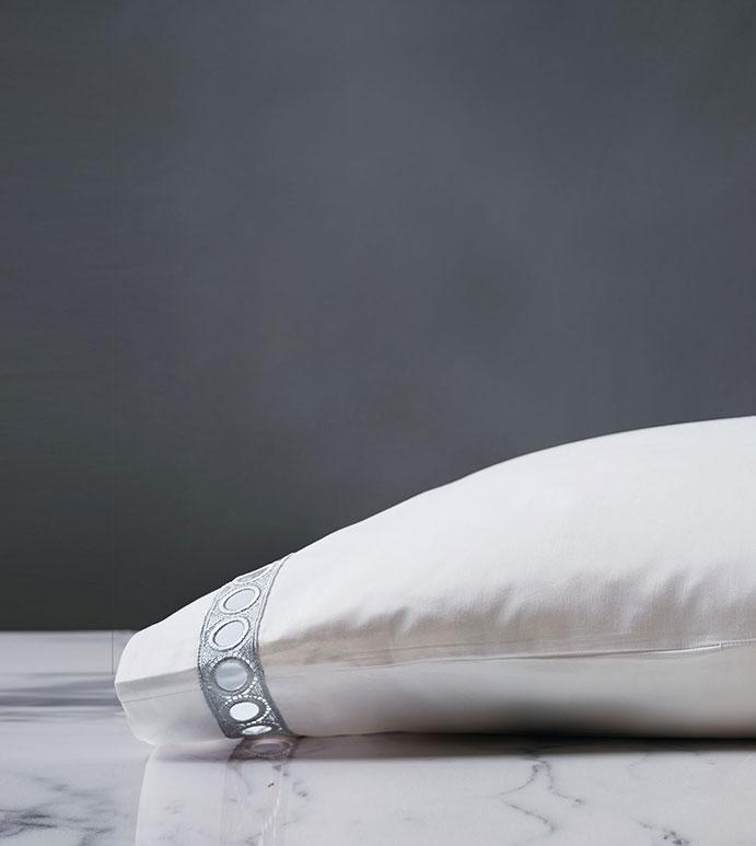 Celine Lace Pillowcase in Silver - PILLOWCASE,LACE,SILVER,SATEEN,100% COTTON,EGYPTIAN COTTON,100% EGYPTIAN COTTON,LACE PILLOWCASE,SILVER LACE PILLOWCASE,PERCALE PILLOWCASE WITH SILVER LACE,WOVEN IN ITALY,ITALIAN,