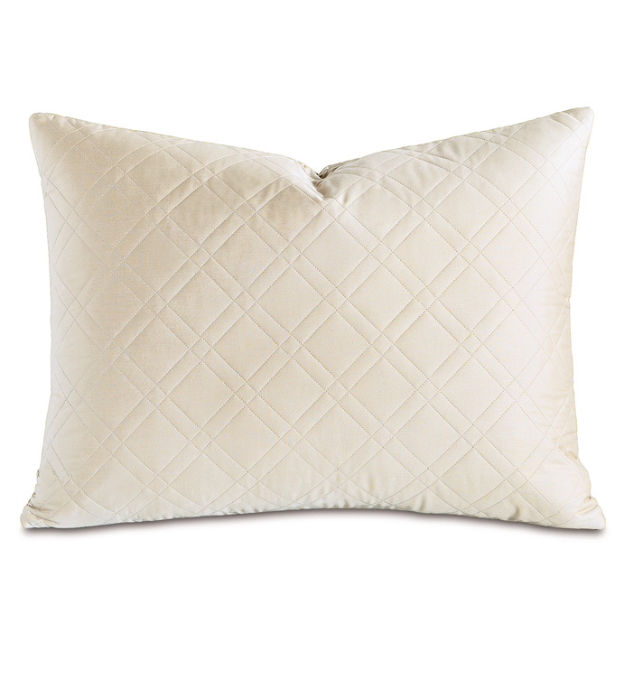 Coperta Diamond Quilted Queen Sham in Ivory - ,QUILTED QUEEN SHAM,QUILTED SHAM,QUILTED PILLOW,CREAM QUILTED QUEEN SHAM,CREAM QUILTED PILLOW,QUILTED BEDDING,CREAM QUEEN SHAM,SATEEN QUEEN SHAM,WASHABLE SHAMS,