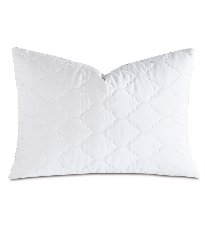 Viola Quilted Queen Sham in White - ,QUILTED QUEEN SHAM,COTTON SATEEN QUEEN SHAM,COTTON QUILTED QUEEN SHAM,WASHABLE SATEEN QUEEN SHAM,WASHABLE QUEEN SHAM,WASHABLE CREAM QUEEN SHAM,WASHABLE QUILTED BEDDING,
