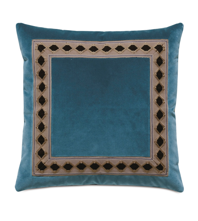Rudy Border Accent Pillow In Blue - ACCENT PILLOW,THROW PILLOW,ACCENT PILLOW,EASTERN ACCENTS,BLUE,LODGE,100% COTTON VELVET,SOLID,BORDER,