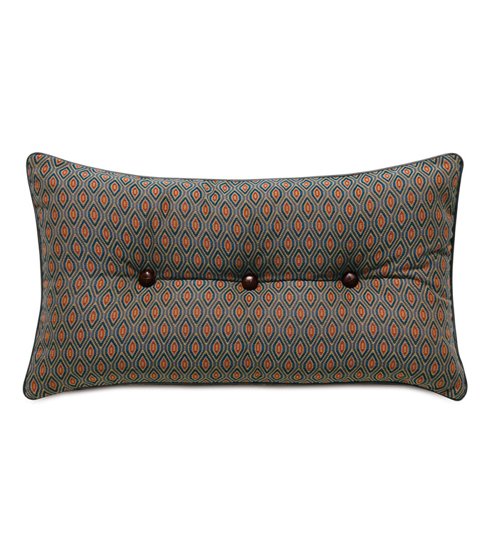 Rudy Button Tufted Accent Pillow - ACCENT PILLOW,THROW PILLOW,ACCENT PILLOW,EASTERN ACCENTS,JEWEL TONE,TRADITIONAL,WOVEN,OGEE,BUTTON TUFTED,