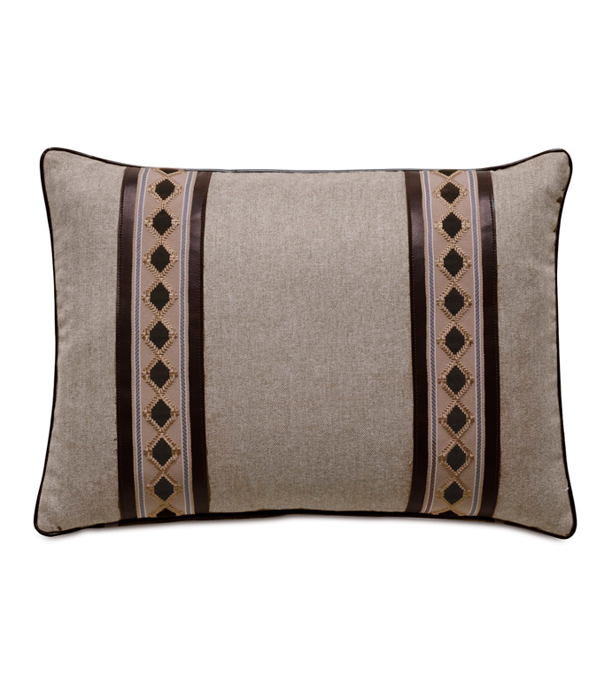 Rudy Border Accent Pillow In Neutral - ACCENT PILLOW,THROW PILLOW,ACCENT PILLOW,EASTERN ACCENTS,NEUTRAL,LODGE,WOVEN,SOLID,BORDER,