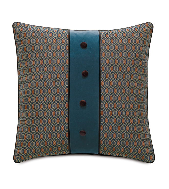 Rudy Button Application Accent Pillow - ACCENT PILLOW,THROW PILLOW,ACCENT PILLOW,EASTERN ACCENTS,MULTICOLORED,TRADITIONAL,WOVEN,OGEE,BUTTON APPLICATION,