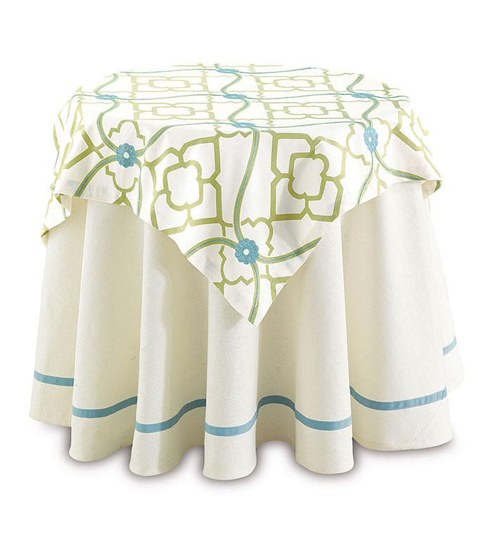 Filly White Table Round - white round table cloth,white table cloth blue accents,blue trim table cloth,blue trim,white decorative table round,neutral,solid white,blue accent,round table cover white,pastel