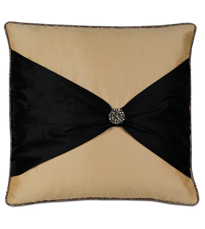 Roxanne Bow Decorative Pillow - PILLOW,METALLIC PILLOW,TOSS CUSHION,THROW PILLOW,SQUARE PILLOW,GLAM PILLOW,CUSTOMIZABLE PILLOW,DOUBLE SIDED PILLOW,WHIMSICAL PILLOW,HIGH END PILLOW,BOW TIE PILLOW,GLITZY PILLOW