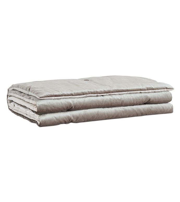 Velda Smoke Bed Scarf - VELVET,GREY,VELOUR,METALLIC,GLAM,GRAY,SILVER,TUFTED,CONTEMPORARY,BUTTON TUFTED,BEDDING,LUXURY BEDDING,HOME DECOR,ACCENT,BEDROOM,BEDSCARF,TOPPER,