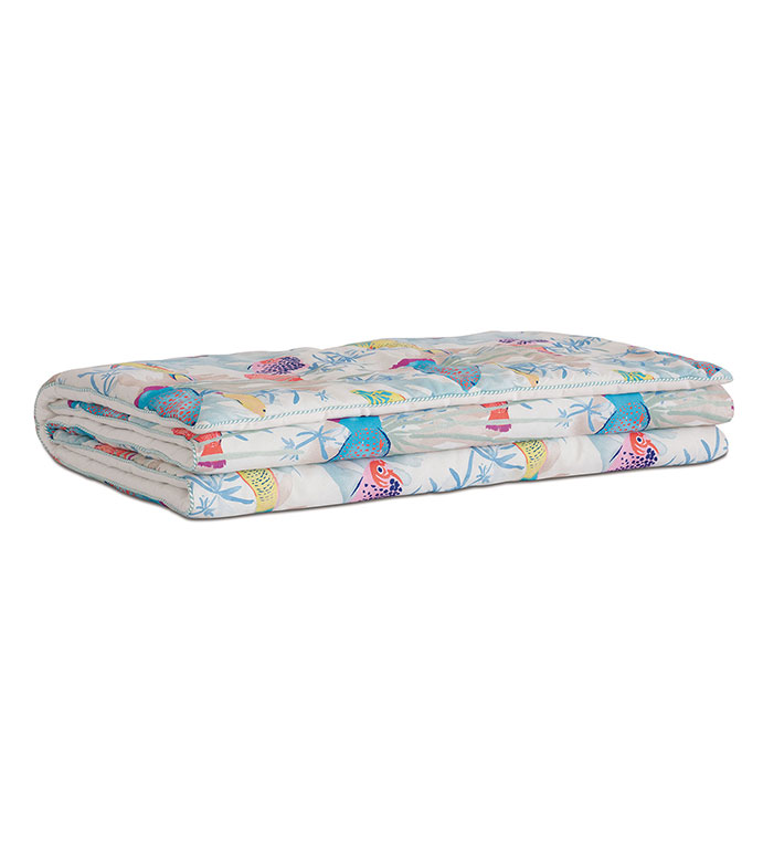 Paloma Tropical Bed Scarf - TROPICAL,FISH,PATTERN,PRINT,COTTON,BED SCARF,BED RUNNER,BLUE,PRIMARY,BRIGHT,COLORFUL,KIDS,FUN,CORAL REEF,LUXURY,HIGH-END,QUALITY,EASTERN ACCENTS,BED