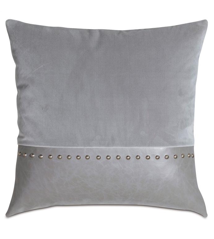 Safford Nailhead Decorative Pillow - TWO-TONE,FAUX LEATHER,VELVET,GRAY,WARM GRAY,SOFT,COZY,22X22,SQUARE,LARGE,DECORATIVE PILLOW,ACCENT PILLOW,THROW PILLOW,PILLOW