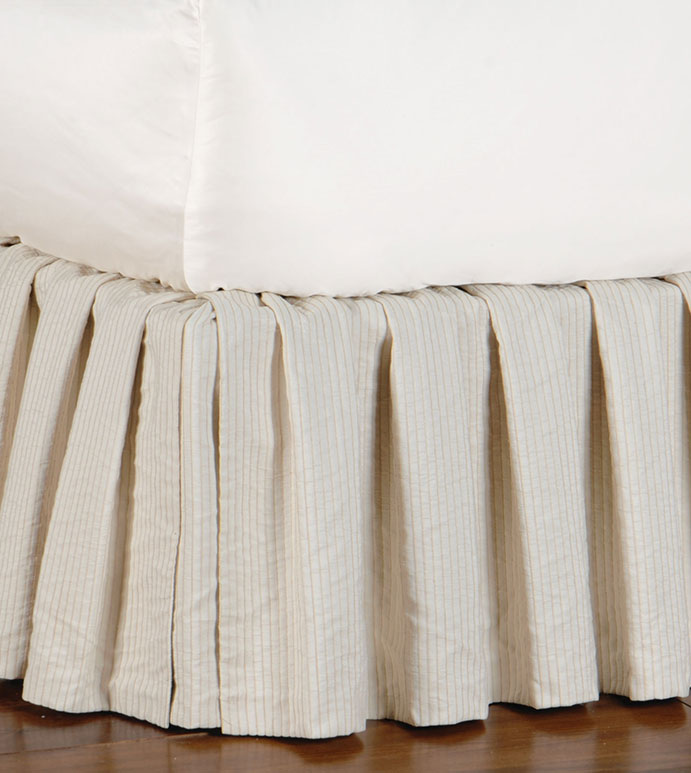 Allston Ivory Skirt - NEUTRAL RUFFLED BED SKIRT,IVORY DUST RUFFLE,TRADITIONAL RUFFLED BED SKIRT,PIN STRIPE,NEUTRAL CLASSIC,TRADITIONAL BED SKIRT,TAN AND CREAM,VICTORIAN,SOUTHERN CLASSIC,CORNER PLEAT