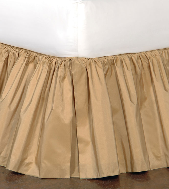 Freda Ruffled Bed Skirt in Gold - RUFFLED,BED SKIRT,BEDDING,HOME DECOR,GOLD,ACCESSORIES,OPULENT,MADE IN USA,TRADITIONAL,TAFFETA,SILKY,SHINY,QUEEN,KING,TWIN,DAYBED,FULL,CAL KING