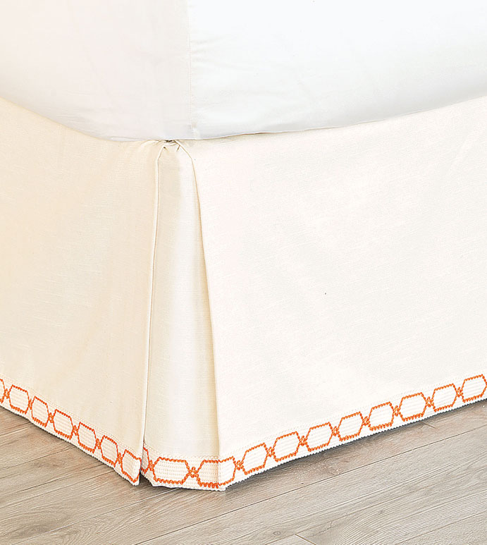 Witcoff Ivory Bed Skirt - ivory pleated bed skirt,cream bed skirt,corner pleated bed skirt,white and orange bed skirt,accent trim,graphic trim,kick pleated bed skirt,neutral feminine,eclectic,contemporary