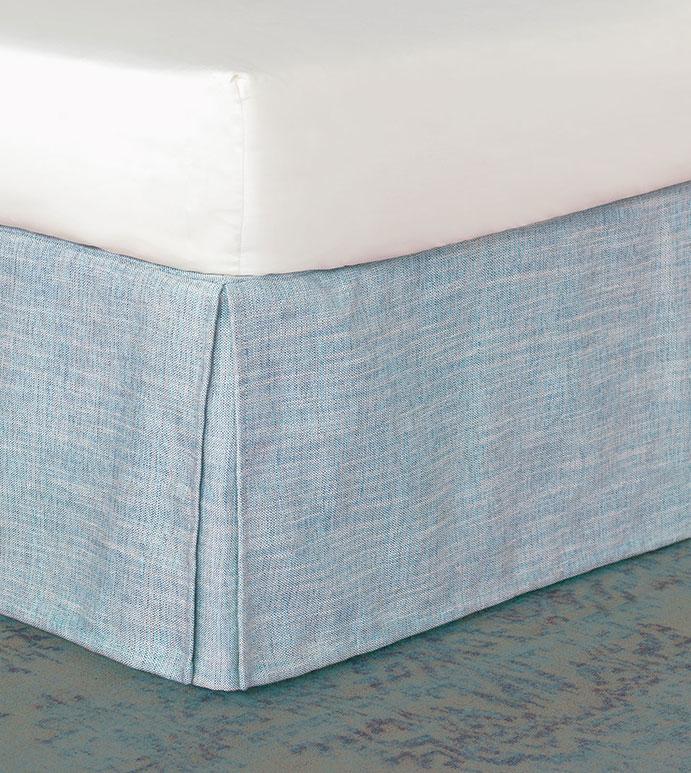 Draper Lake Bed Skirt - BLUE WOVEN BED SKIRT,BLUE WOVEN DUST RUFFLE,BLUE KICK PLEAT BED SKIRT,CORNER PLEAT,HEATHER BLUE,ISLAND BED SKIRT,TROPICAL BED SKIRT,SOLID BLUE,TROPICAL FEMININE,CASUAL COASTAL