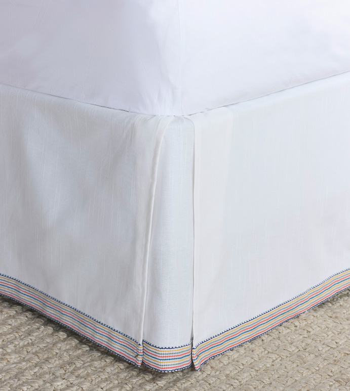 Paloma Pleated Bed Skirt In White - BED SKIRT,BEDDING,LUXURY,LUXURY BEDDING,EASTERN ACCENTS,COLORFUL,PRIMARY,TRIM,TRIM APPLICATION,APPLIQUE,PLEATED,KICK PLEATS,SPLIT CORNERS,COTTON,WHITE,TRADITIONAL,CLASSIC,GIRLS,KID