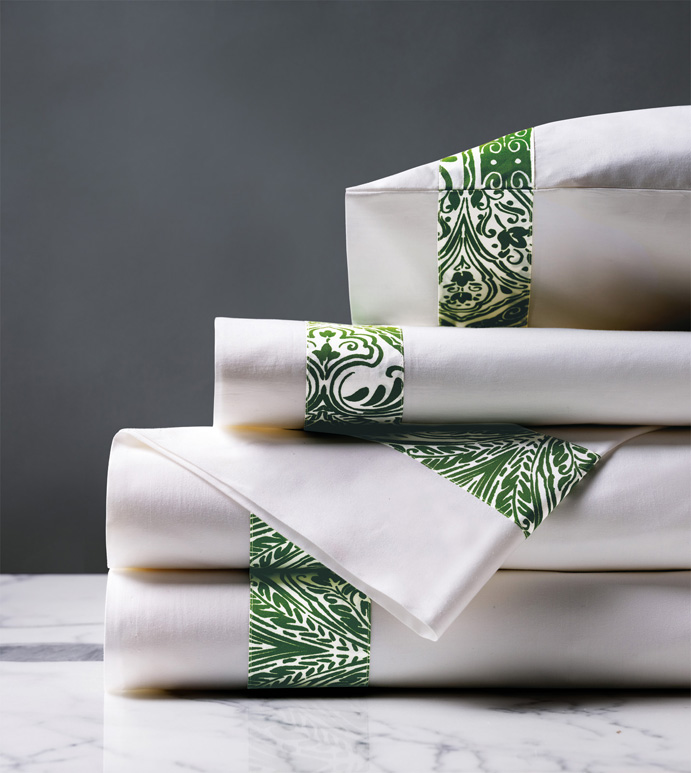 Adelle Percale Sheet Set In Grass - 100% COTTON,EGYPTIAN COTTON,ITALIAN,FINE LINENS,LINENS,SHEETS,SHEETING,FLAT SHEET,DAMASK,DAMASK PATTERN,GREEN,TRADITIONAL,OGEE,BED LINENS,EASTERN ACCENTS,PERCALE,MADE IN AMERICA,