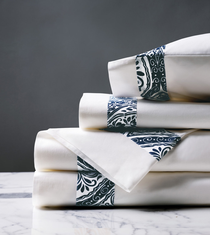 Adelle Percale Sheet Set In Marine - 100% COTTON,EGYPTIAN COTTON,ITALIAN,FINE LINENS,LINENS,SHEETS,SHEETING,FLAT SHEET,DAMASK,DAMASK PATTERN,BLUE,TRADITIONAL,OGEE,BED LINENS,EASTERN ACCENTS,PERCALE,MADE IN AMERICA,